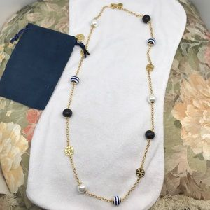 Tory Burch long necklace with three tone pearls